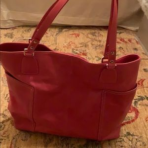 Levenger  Leather pink muti working  tote!
